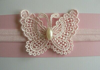 Newborn/Baby/Toddler/Girl Headband/ Baby Pink Lace Butterfly- Pearl Centre