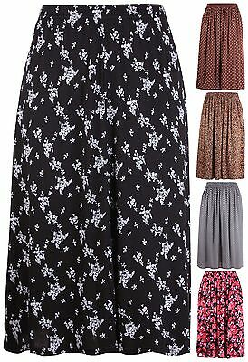aca2c0e7b7088 Womens Plus Size Skirt Ladies Floral Animal Print Elasticated Waist Flared  Midi