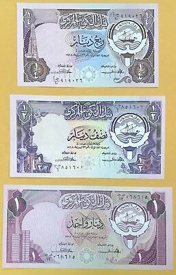1980/1981 3rd Issue Kuwait Dinar mini set [1/4, 1/2 & 1] ND 1968 sing 2 EX-Rare