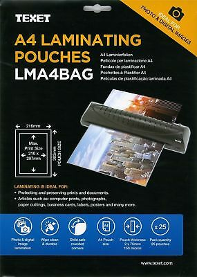 Texet A4 Laminating Pouches 1 Pack Of 25 Sheets **special Introductory Offer**