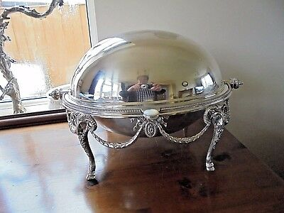 Vintage Silver Plated Roll Top Breakfast Warming Dish for Restoration.