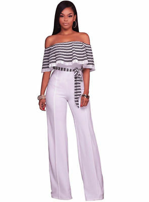 Latest Hot Women 's Fashion Sexy Off-shouder Jumpsuit Pleated Flounced Wide Leg