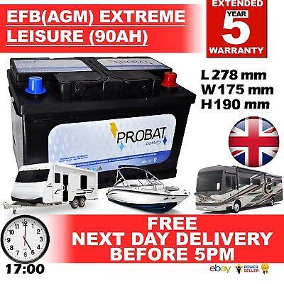 12V 90Ah Efb Agm Leisure Battery Heavy Duty Low Height (90 Ah Amp) 85 Amp 88