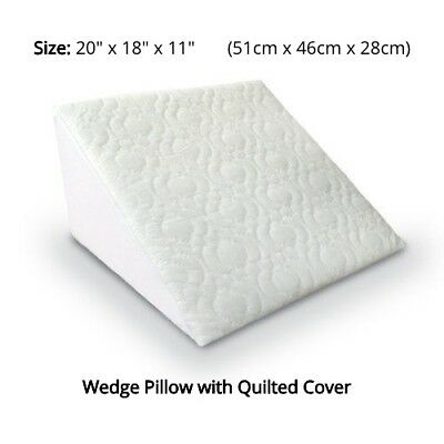 Bed Wedge Pillow Orthopaedic Back Leg Lumbar Support Flex Foam Quilted Cover New