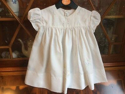 Vintage baby girl white dress size 16'' Made in Madeira Dacron fabric