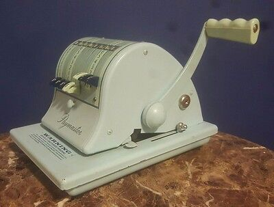 Paymaster Vintage X-2000 Protection Check Writer Stamping Antique Machine Blue