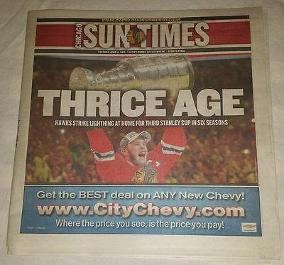 Chicago Sun Times Blackhawks 2015 Stanley Cup Champions June 16, 2015 Newspaper