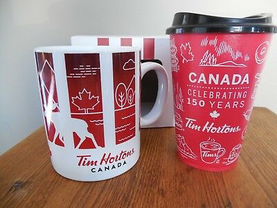 Brand new Tim Hortons Canada Traveller's Collection Mug & 150 Years Reusable Cup