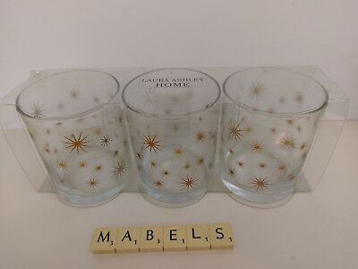 LAURA ASHLEY ~STARLIGHT GOLD STARS ~ glass tumblers x 3