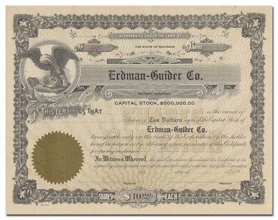Erdman-Guider Co. Stock Certificate (Early Auto Body and Hearse Maker)
