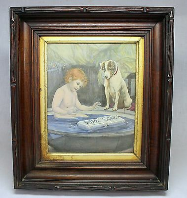 early SWAN SOAP Advertising Color Steel Engraving ~ GORGEOUS FRAME ~ antique