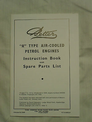 Petter A Type Engine Instruction Book & Spare Parts List 1936 to 1946