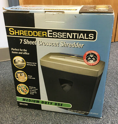 Shredder Essentials 7 Sheet Cross Cut Shredder / Destroys DVD & CD - New in Box
