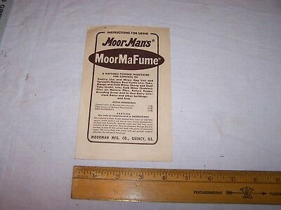 Vintage MOORMAN'S MoorMaFume Insecticide Paper QUINCY ILLINOIS - Instructions