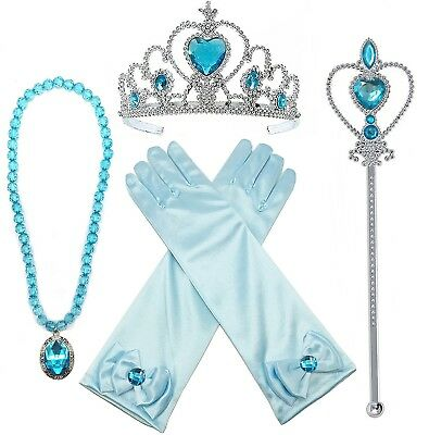 Princess Dress up Accessories 4 Pieces Gift Set Tiara Crown necklace Wand Gloves
