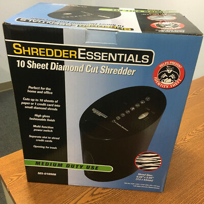 Shredder Essentials 10 Sheet Diamond Cross Cut Shredder / Model D1050 - NIB