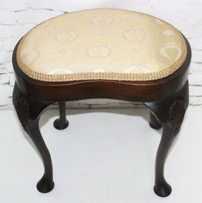 Antique Queen Anne Style Kidney Shaped Mahogany Stool - FREE Shipping [PL4113]