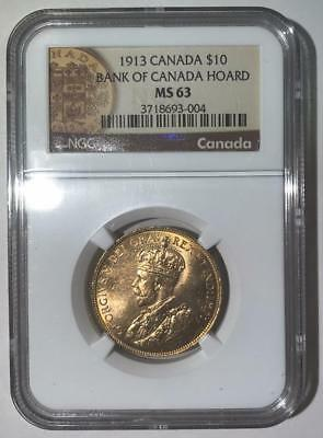 1913 Canada $10 Gold Coin - NGC MS63 - Bank of Canada Hoard - Ten