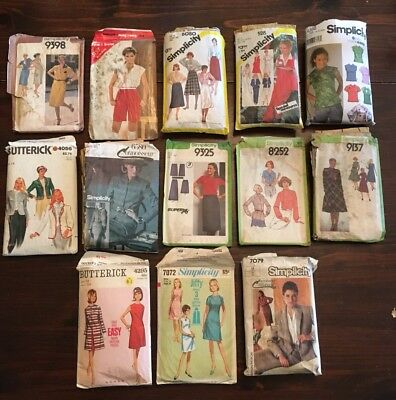 Lot of 13 Vintage McCalls Sewing Patterns Misses Size 12-14-16-18-20 UnCut/Cut