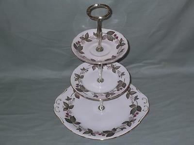Royal Standard Bone China Green Briar 3-Tier Hostess Cake Plate Stand (Paragon)