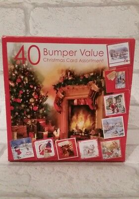 Bumper Box Of 40 Assorted Christmas Cards/10 assorted designs