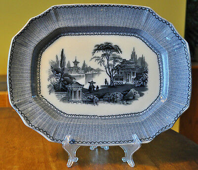 Antique Flow Blue Mulberry Ironstone Staffordshire Platter Sewell S&D Kin-Shan