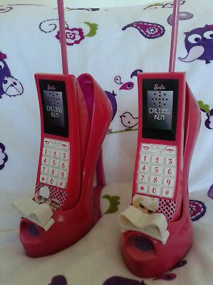 Barbie intercom walkie talkie calling phones on shoe stands VGC girls pink