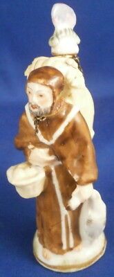Antique French Monk Figural Perfume Bottle Flask Flacon France Figure Figurine