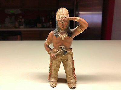 Old Vtg Cast Iron Indian Chief Head Dressing Standing Still Coin Piggy Bank