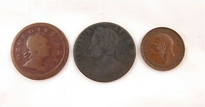 Great Britain 1717 1/2 Penny, 1742 1/2 Penny & 1927 Farthing