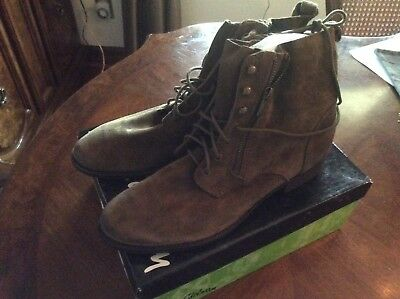 5b619176be262 BNIB Women s Sam Edelman MACKAY Lace Up Combat Boots Suede Moss Green Size  11