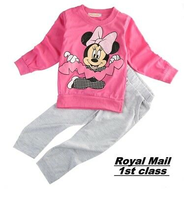 NEW Kids Clothes baby Girls Disney Minnie Mouse Mickey Outfit Top Pants Set UK