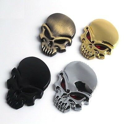 "3D EVIL SKULL Metal Sticker Decal 2-3/8"" x 1-3/4"" Car Truck Motorcycle Accessory"