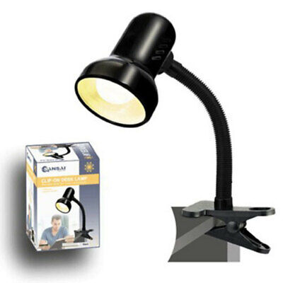 Sansai Black Clip On Clamp Desk Lamp/Light w/ Adjustable/Flexible Neck Office