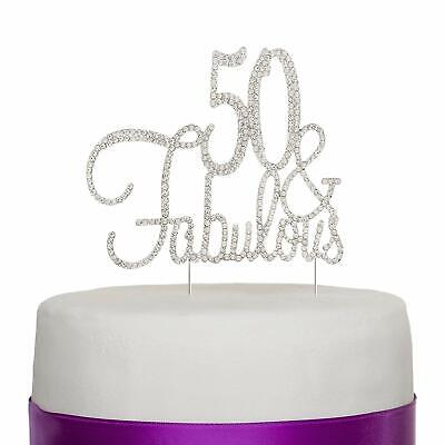 50 & Fabulous Cake Topper for 50th Birthday Party Decoration Supplies (Silver)