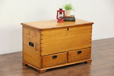 Country Pine Antique 1860 Trunk or Blanket Chest, Coffee Table