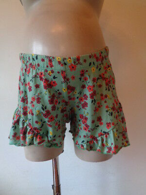 Asos Maternity Green Flower Print Under Bump Frill Shorts Size 8