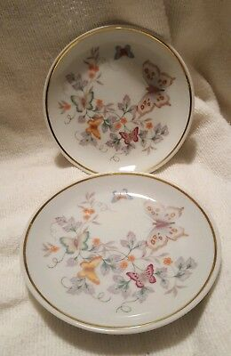 2 Porcelain Hand-Decorated 22k Gold Trimmed / Avon Butterfly Fantasy Saucers