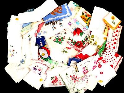 Lot Of 54 Vintage Floral And Novelty Hankies Handkerchiefs Nice! Colorful!