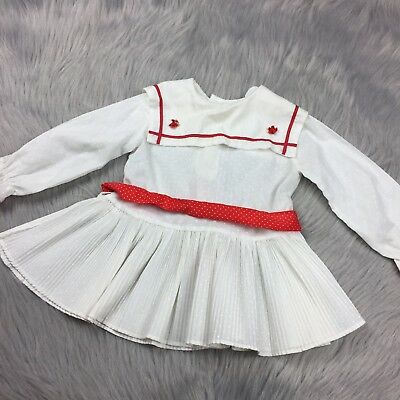 Vintage White Red Polka Dot Pleated Sailor Toddler Girls Dress