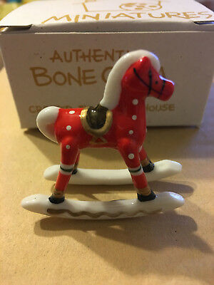 Red Miniature Christmas Ornament Rocking Horse Bone Bug House Exclusive