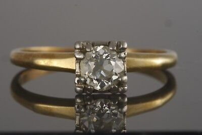 Antique Art Deco 14k Yellow Gold Old Euro Cut Diamond Solitaire Engagement Ring