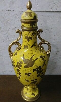 Antique Stunning Yellow Hand Painted Gold Enlay Paint Urn Bakewell Glass Co 1808