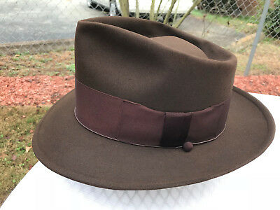 "Vintage Disney ""Plaza Fifteen"" Fedora Hat 7 1/8 LO Cavanagh Edge, Brown Fur Felt"