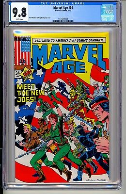 Marvel Age #34  CGC 9.8 WP Comics 1/85  previews new G.I. Joe  Snake Eyes  Cobra