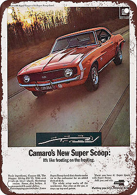 "7"" x 10"" Metal Sign - 1969 Chevrolet Camaro SS Super Scoop - Vintage Look Reprod"