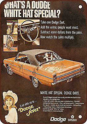 "7"" x 10"" Metal Sign - 1969 Dodge Dart White Hat Special - Vintage Look Reproduct"