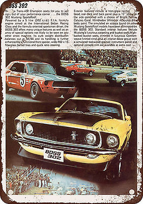 "7"" x 10"" Metal Sign - 1969 Ford Mustang Boss 302 Front - Vintage Look Reproducti"
