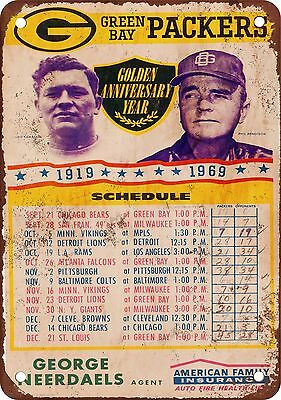 "7"" x 10"" Metal Sign - 1969 Green Bay Packers Schedule - Vintage Look Reproductio"