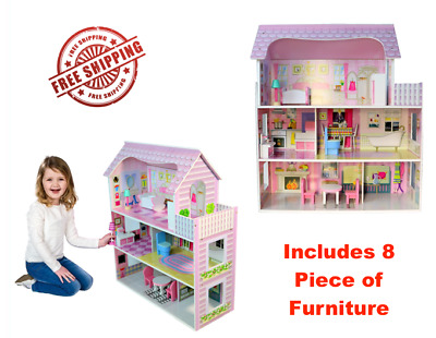 Wooden Pink Children's Dollhouse Large Fits Barbie Doll House W/ 8 Pcs Furniture